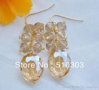20 mm champagne ellipse round faceted crystal dangle Earrings