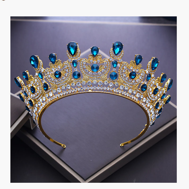 Vintage Gold Color Luxury Large Baroque Blue Tiara Crystal Crown Queen Birdal Wedding Headdress For Bridal Prom Hair Jewelry цена
