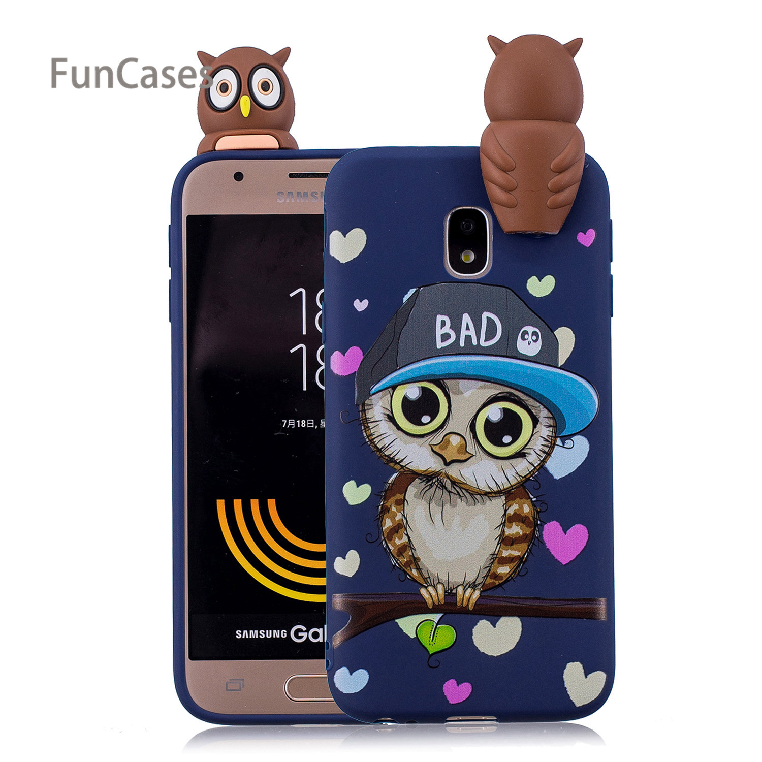 Cute Owl Phone Case sFor Coverage Samsung J330 European Version Soft Silicone Back Cover Cellular Samsung Galaxy J3 2017 EU