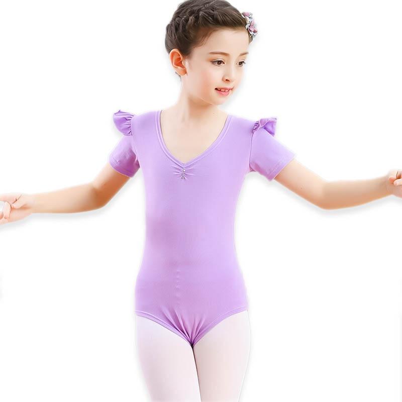 Summer Short Sleeve Ballet Dance Bodies Girls Gymnastics Dancewear Child Bodysuit Cotton Jumpsuit For Performance Dance Clothing