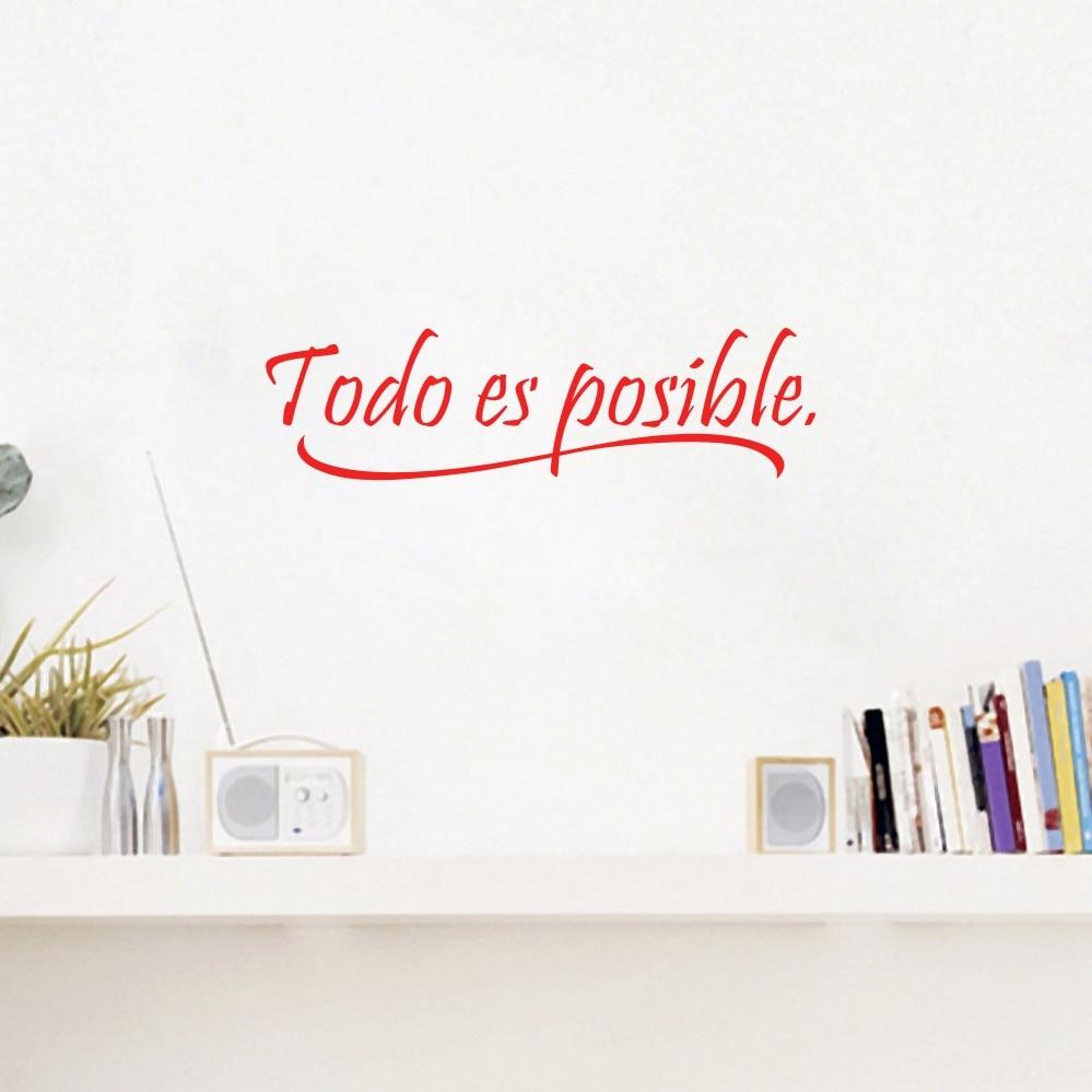 Vinyl muurstickers Home Decor Todo es posible Spaanse Quotes Wall Art Decals
