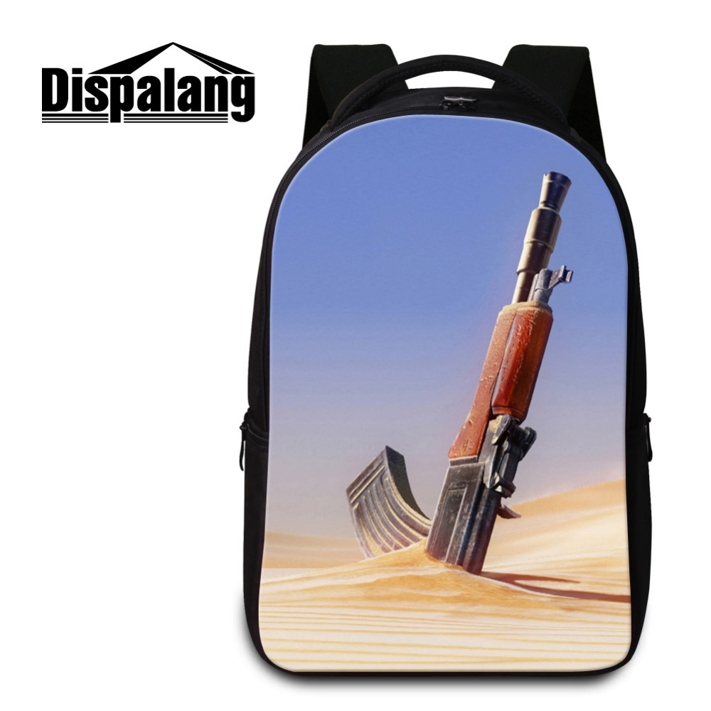 Dispalang Laptop Backpack For Men Women Gun Print Notebook Computer Rucksack Military Big School Bag for Teenagers Bolsa Mochila bagsmart new men laptop backpack bolsa mochila for 15 6 inch notebook computer rucksack school bag travel backpack for teenagers