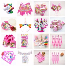 Unicorn Birthday Party Supplies Decoration Tablecloth Napkins Cups Banner Plates Baby Adult Shower Favors Accessories Gifts Set