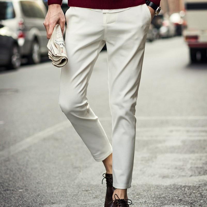 Весна лето шаровары лодыжки длина брюки прямые брюки западном стиле мужской брюки мужчин slim fit костюм брюки