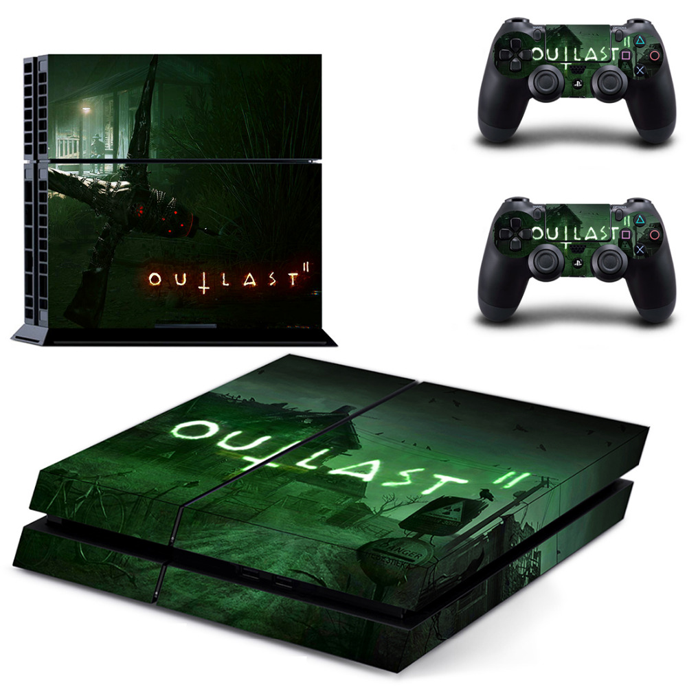 Game Outlast PS4 Skin Sticker Decal for Sony PlayStation 4 Console and 2 Controller Skin PS4 Sticker Vinyl Accessory