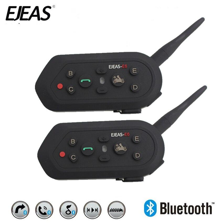 EJEAS 2Pcs E6 Bluetooth 3 0 Helmet Intercom Headset 6 Riders 1300M BT Interphone Motorcycle Wireless