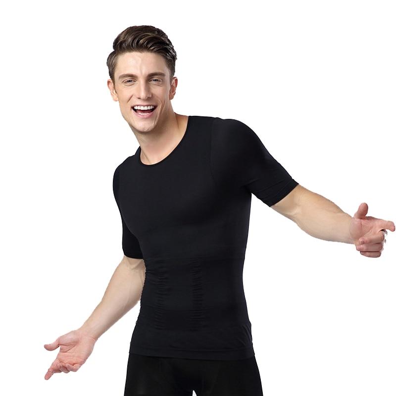 Mens posture correcteur tshirt poitrine shaper taille ventre réducteur minceur estomac abdomen tondeuse collants pour homme shapewear chemise