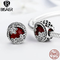 BISAER Real 925 Sterling Silver Red Glass Beads With Silver Flower Beads Charms Fit Original Pandora