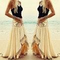 Envío libre de la playa de bohemia falda bordado faldas para mujer vintage étnico irregular largo maxi de la falda saia