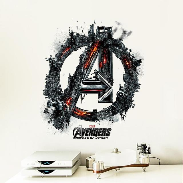 Avengers logo cartoon movie wall stickers for kids rooms children pvc wall decals home room decor