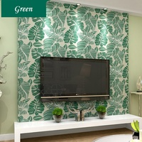 Fresh Plantain Leaves TV Background Living Room Wallpaper Southeast Asia Green Leaves Wallpaper Roll Wall Papers Home Decor