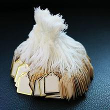 500 pièces bijoux étiquettes de prix pour montre vêtements affichage fournitures, blanc carré prix marquage étiquette avec bordure dorée