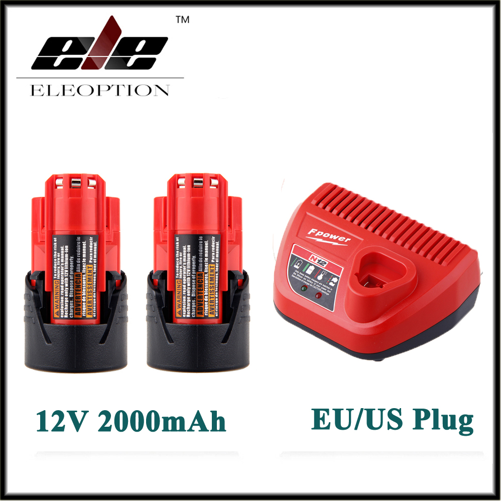 2x Eleoption 12V 2000mAh Li-ion Rechargeable Power Tool Battery For Milwaukee M12 48-11-2401 2510-20 48-59-1812+ Charger eleoption 2pcs 18v 3000mah li ion power tools battery for hitachi drill bcl1815 bcl1830 ebm1830 327730