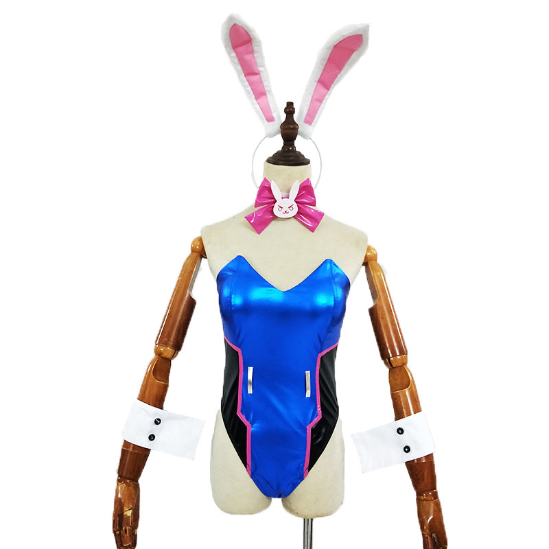 Game D.Va <font><b>Cosplay</b></font> Costume <font><b>Sexy</b></font> Women's Bunny Uniform Ribbit Costume <font><b>DVA</b></font> fan Art Costume D Va Soft PU Leather Suit Jumpsuits image