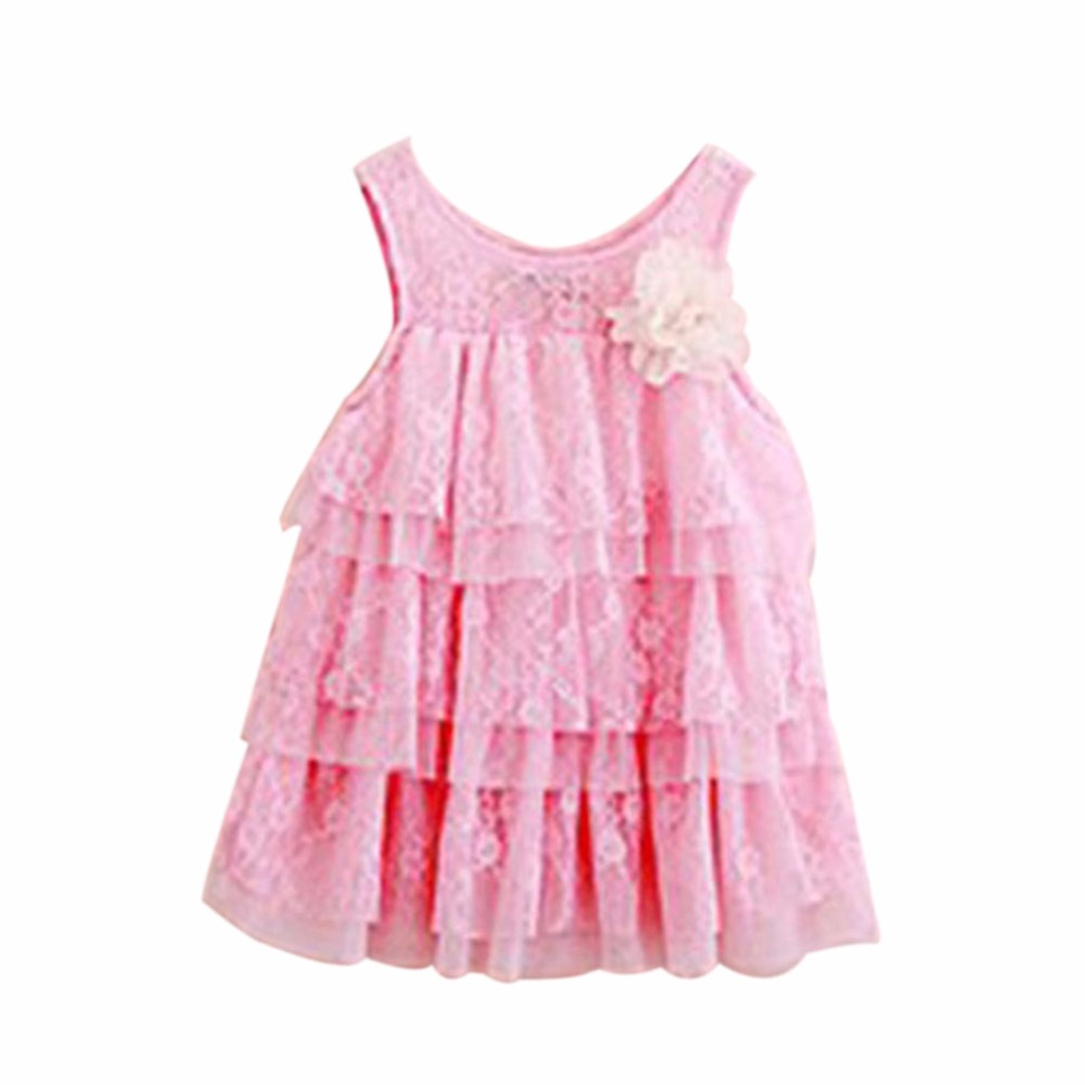 Infant Baby Girls Lace Dress Children Clothing For Summer Kids Princess Flower Tutu Dresses 2016 summer children s clothing champagne girls tutu dress for party lace layer back hollow kids dress for baby girls a121