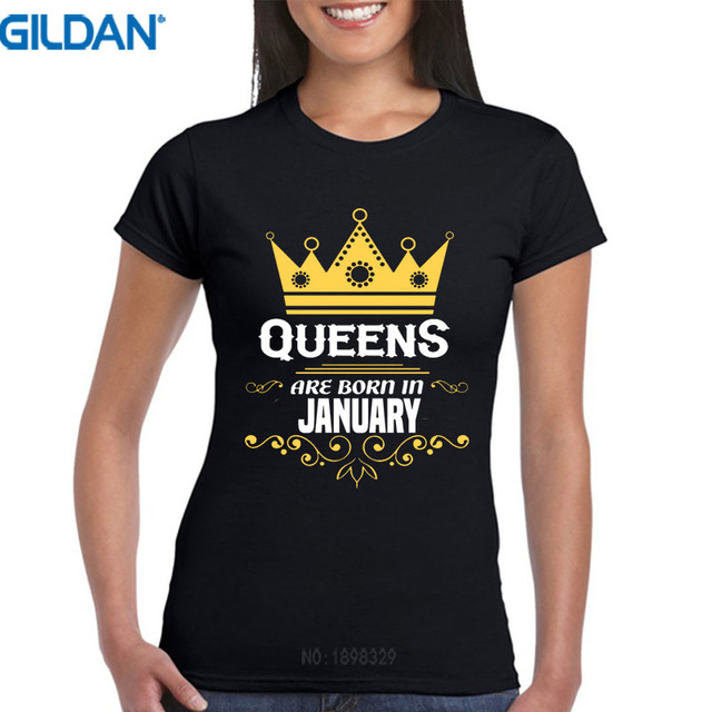 Cool T Shirts Graphic O Neck Short Sleeve Queens Are Born In January Birthday Tees For Women