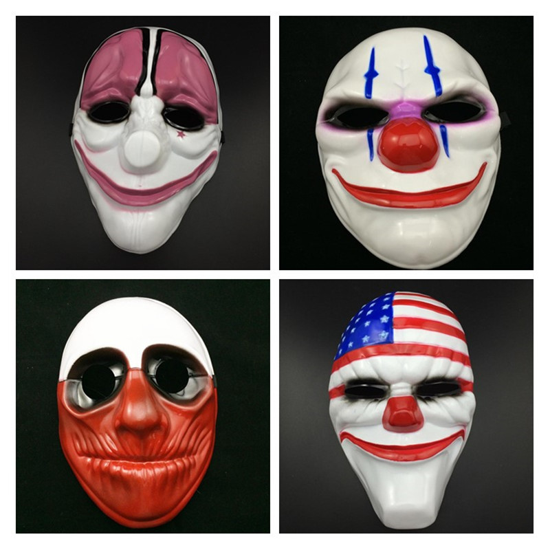 50pcs Payday 2 mask joker Payday2 Party Masks Heist Dallas Wolf Chains Hoxton Party Cosplay Halloween