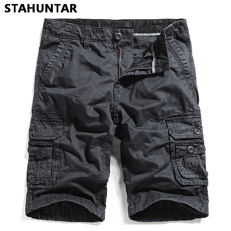 Summer Cargo Shorts Men Cotton Black Gray Pockets Looes Mens Shorts Knee Fashion Sweatpants Casual Tooling Large Size