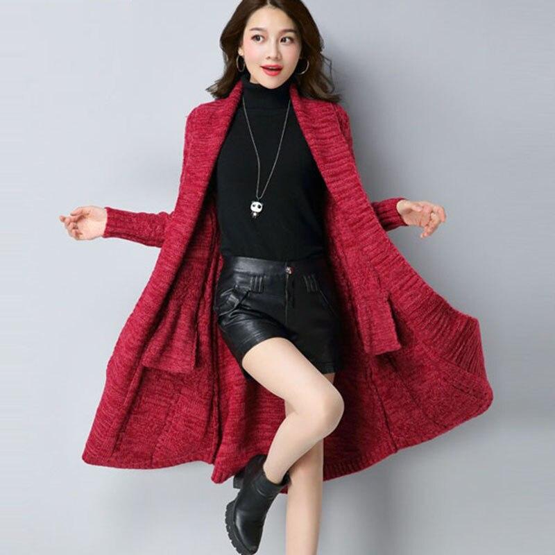 Femmes Long Cardigan dames chandails 2018 automne mode Long tricot chandail femmes grand manteau décontracté veste hiver vêtements été