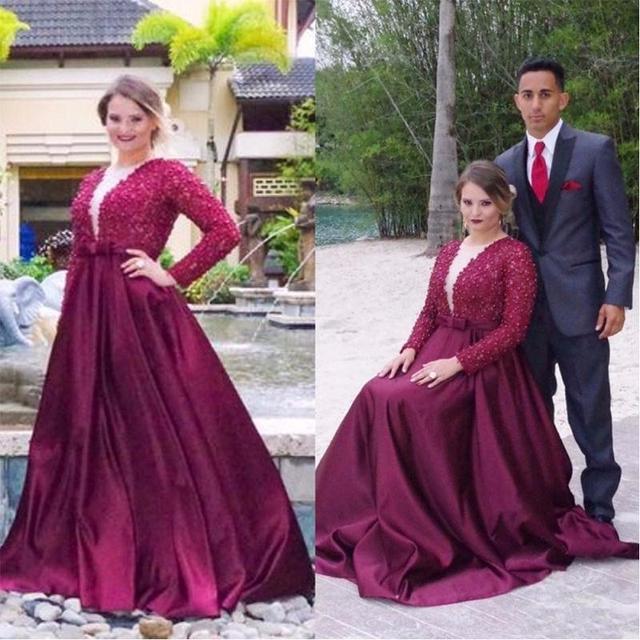 Vestidos Mae Da Noiva Темно-Красный Мать Невесты Платья глубокий V-образным Вырезом С Длинным Рукавом A-Line Плюс Размер Женщин-Вечернее Платье
