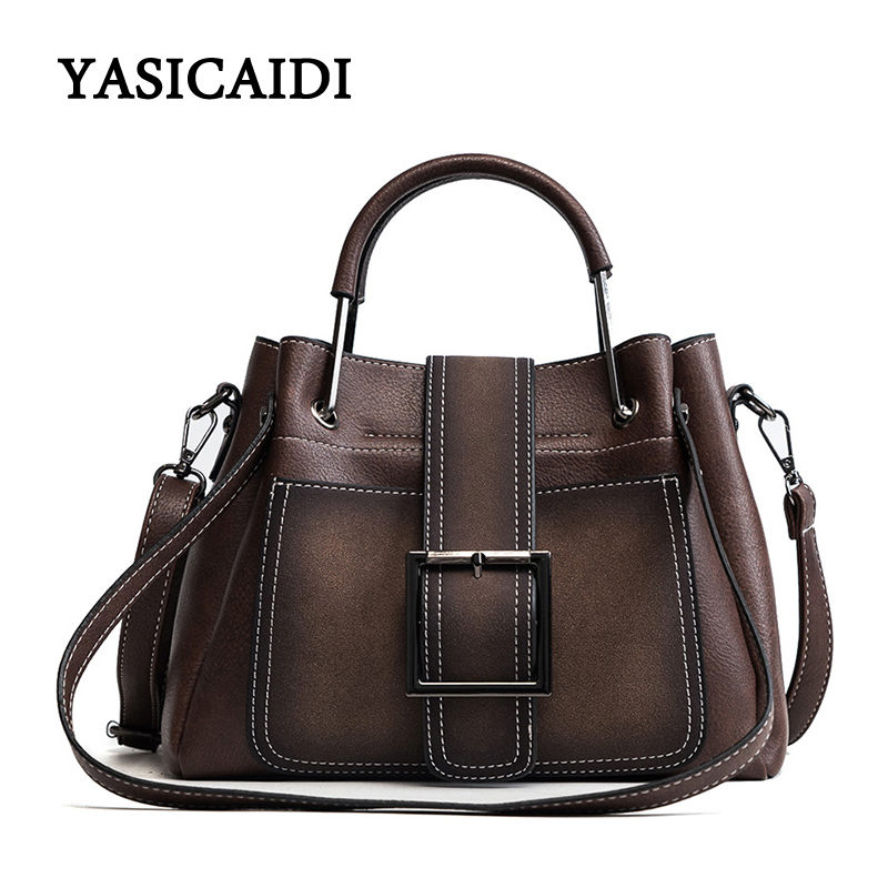 Female Handbag Women Large Capacity Shoulder Bag Fashion Pu Leather Zipper Hasp Portable Metal Handle Top-Handle Tote Bags metallic hasp pu leather tote bag