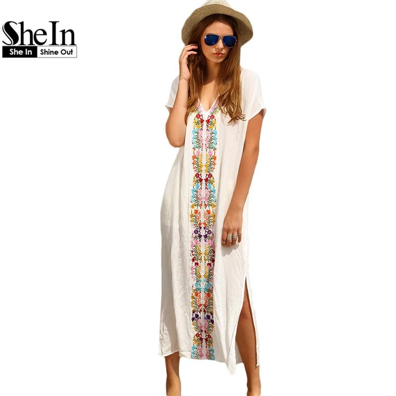 Shein verano playa vestidos largos para las mujeres boho blanco bordado con cuel