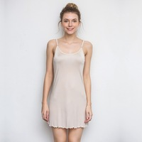 Summer Fashion New Women Woman Lady Girl Soft 100% Silk Dress Full Slip Night Skirt Sleep YH58