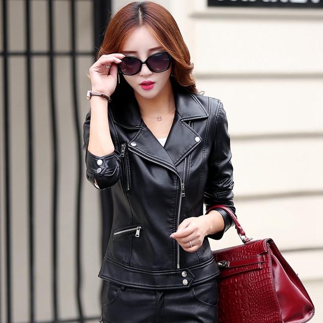 Plus Size S-3XL New Fashion 2016 Autumn Winter Women Leather Coat Female Slim Short Leather Jacket Women's Outerwear