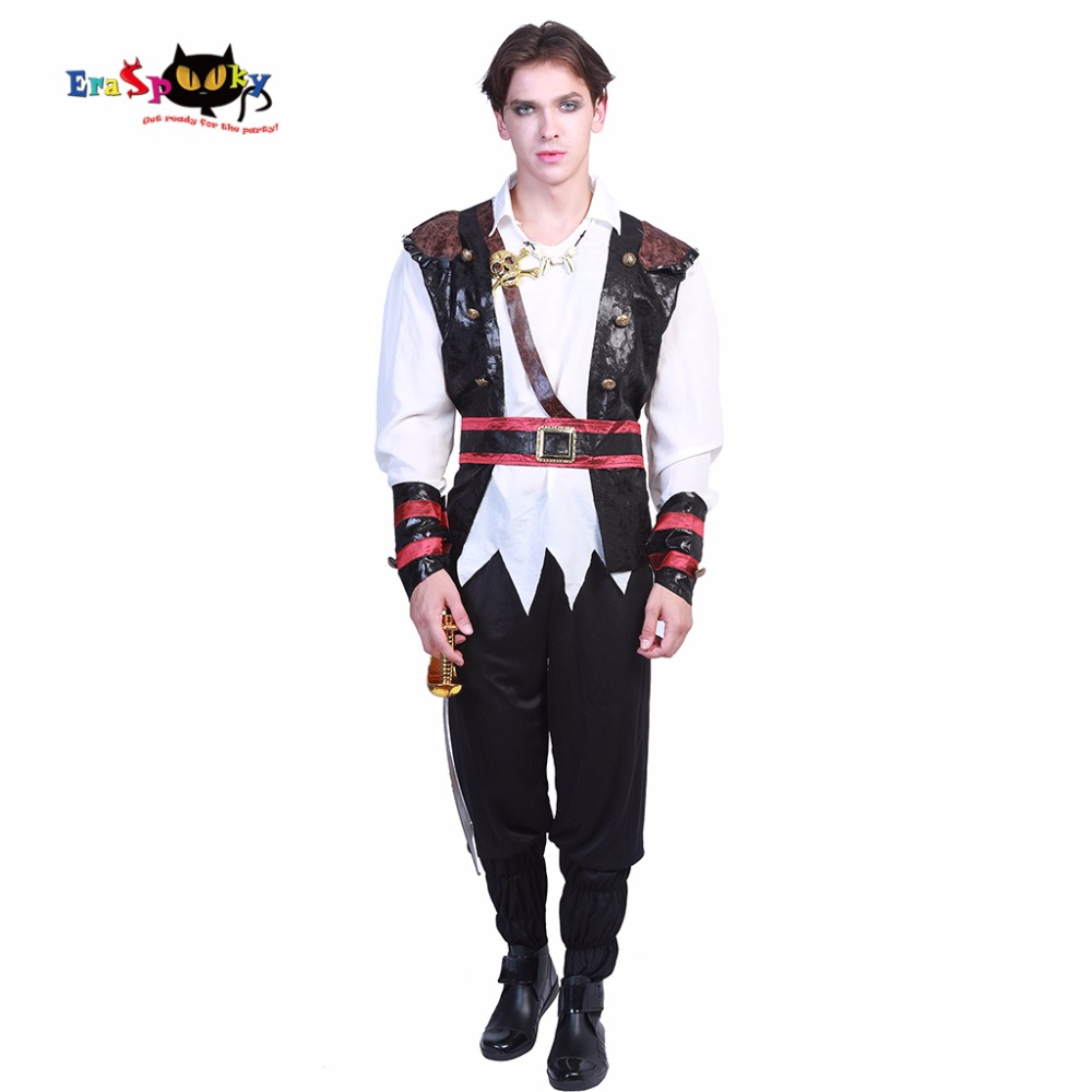 Eraspooky Men Halloween Costume Fighting Deckhand Men`s Pirate Adult Costume Set Party Movie Carnival Cosplay Costume