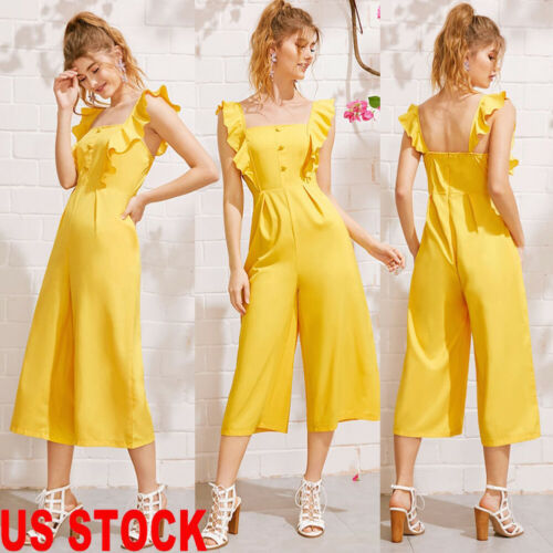 New Sexy Women Sleeveless Solid Ruffle Jumpsuit Romper Casual Club Party Loose Style Comfortable Long Clubwear