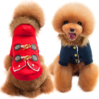 Warm Pet Dog Clothes Winter Cotton Padded Dog Coat Horn Button Fur Hooded Costume For Small