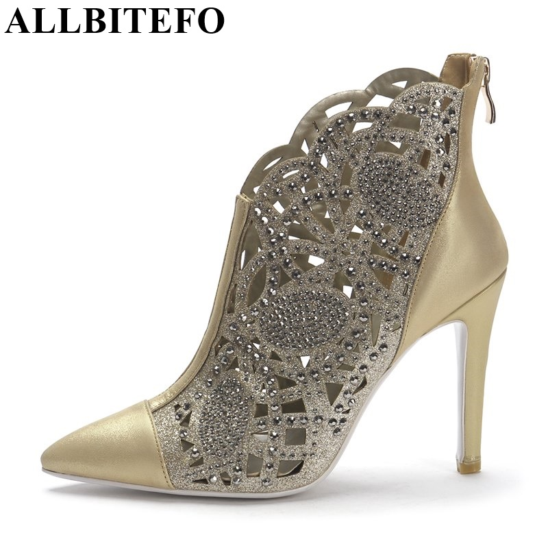 ALLBITEFO 2017 new summer brand fashion boots Genuine Leather Rhinestone cut-outs women party shoes high heels night club shoes 2018 summer new genuine leather women slippers sexy cut outs high heels shoes fashion slides natural leather sandals for women