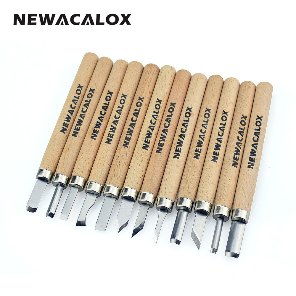 NEWACALOX 12pcs Woodcut Knife Scorper Wood Carving Tool Woodworking Hobby Arts Craft Nicking Cutter Graver Scalpel Multi DIY Pen
