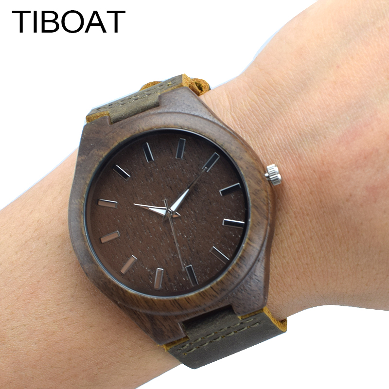 TIBOAT Men Wood Wrist Watch Genuine Leather Band bamboo watches Strap Minimalist Sport 100% Nature Wood Relogio Masculino Gift fashion nature wood quartz wrist watch genuine leather band bamboo pattern strap men women analog green light grey gift