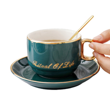 Nordic Royal First-class Ceramic Porcelain Coffee Cup Set Tea Milk With Saucer And 304 Stainless Steel Golden Spoon Suit