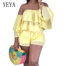 YEYA Sexy Off Shoulder Strapless Ruffle Chiffon Bodysuits Summer Casual Vintage Playsuits Female High Street Club Party Wear