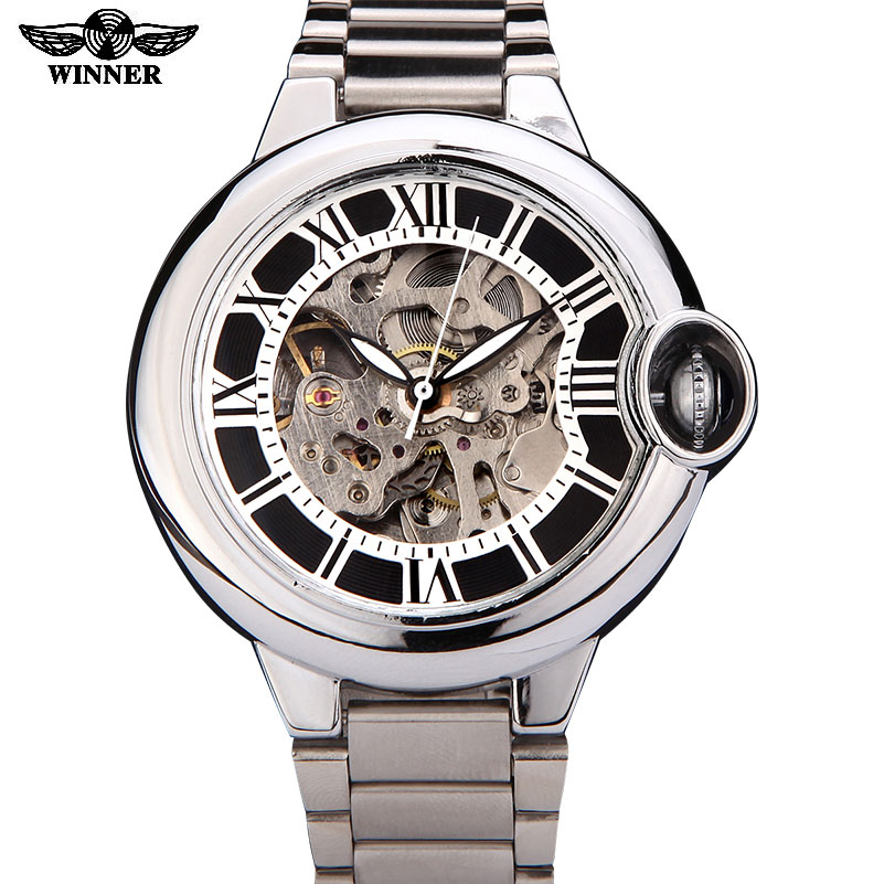 watches men luxury brand	 fashion casual  skeleton wristwatches automatic wind mechanical watch steel strap  relogio masculino winner fashion men mechanical watches leather strap silver case new casual brand analog automatic wristwatches relogio masculino