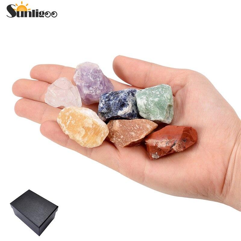 Sunligoo Новый 7 шт. натуральный Камни грубой рок кристаллы для акробатика cabbing (Аметист/Ясный кварц/содалит/ топаз и т. д.) 0.95 -1.2