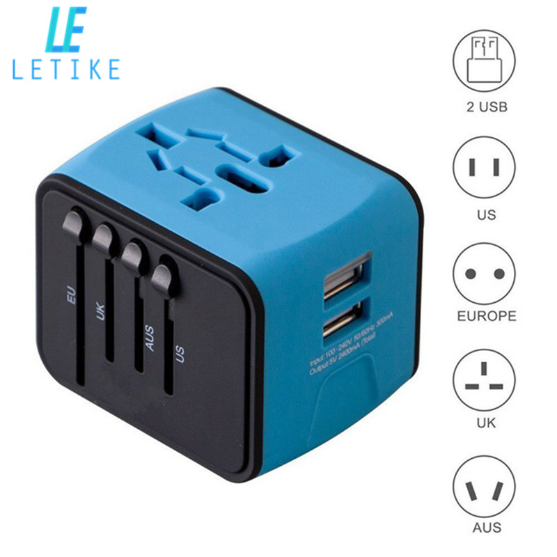 Letike Universal Travel Adapter Alle-in-one International Power Adapter mit 2.4A Dual USB Wand Ladegerät für UK /EU/AU/Asien Telefon