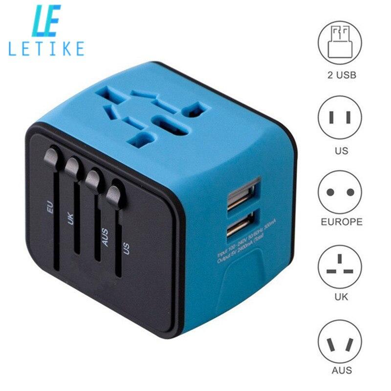 Letike adaptador de viaje Universal todo-en-uno internacional adaptador de corriente con 2.4A cargador de pared USB Dual para el Reino Unido /EU/AU/Asia teléfono