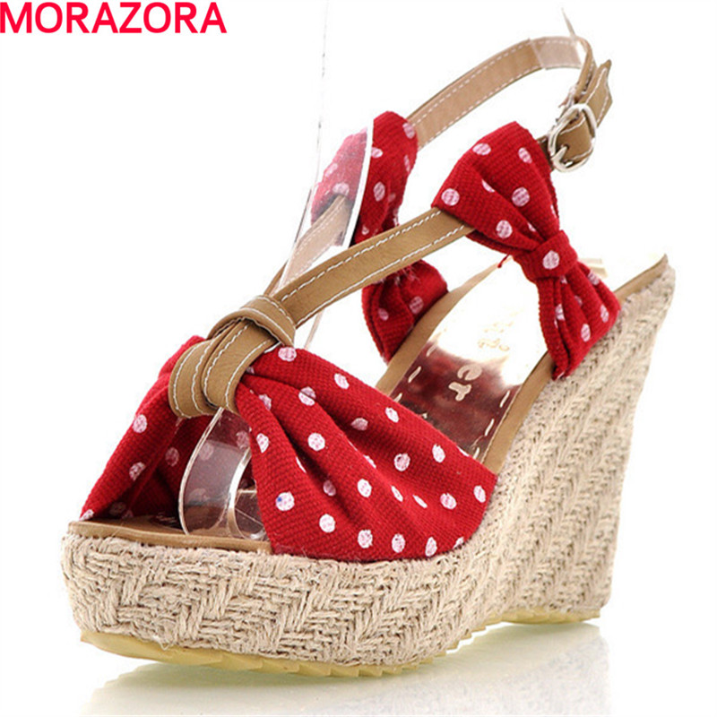 MORAZORA cloth+pu sweet wedges shoes high heels sandals women 11cm platform shoes in summer party beach fashion new arrival morazora bind pu solid high heels shoes 5cm in summer fashion elegant party shoes sandals party large size 34 42