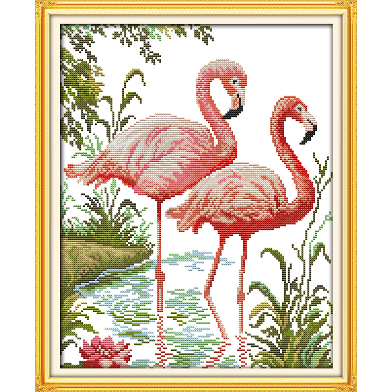 Everlasting love Two flamingos Chinese cross stitch kits Ecological cotton stamped printed 11CT DIY gift new year decorations