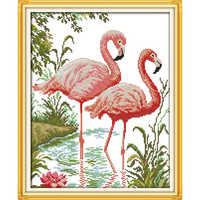 Ewige liebe Zwei flamingos Chinesische kreuz stich kits Ökologische baumwolle gestempelt gedruckt 11CT DIY geschenk neue jahr dekorationen