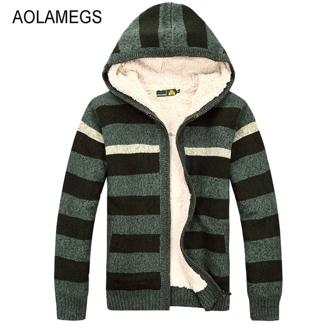 Aolamegs Men Hooded Sweater Fashion Striped Autumn Winter Wool Cardigan Casual Thick Warm Sweater Male Knitting Sweter Hombre