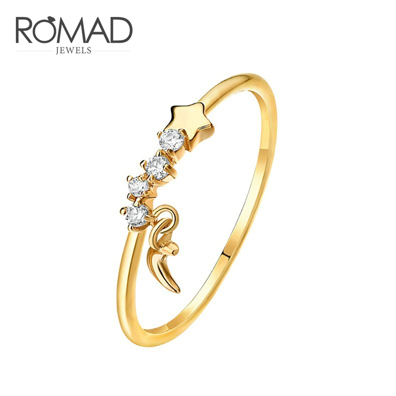 Romad Simple New Fashon Gold Color Crescent Moon And Tiny Star Crystal Stone Ring For Women Gold Color Zircon Chic Exquisite R4