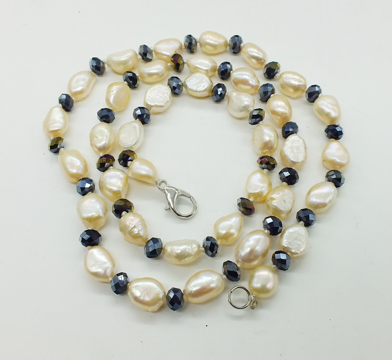 """Fashion 9-10 mm Real Blanc Baroque Freshwater Pearl 6 mm Corail Colliers De Perles 18/"""""""