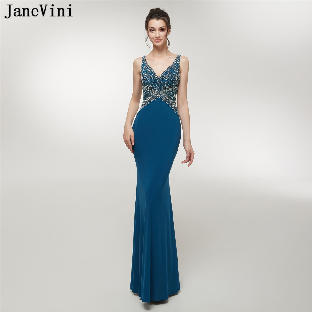 JaneVini 2018 Luxurious Beaded Crystal Satin Bridesmaid Dresses Floor Length V Neck Backless Mermaid Sexy Long Prom Party Gowns