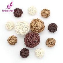 Lucia crafts 12 шт./лот 3-5 см Смешанные 3 цвета плетеные винтажные Sepak Takraw мяч DIY аксессуары для украшения дома M0401
