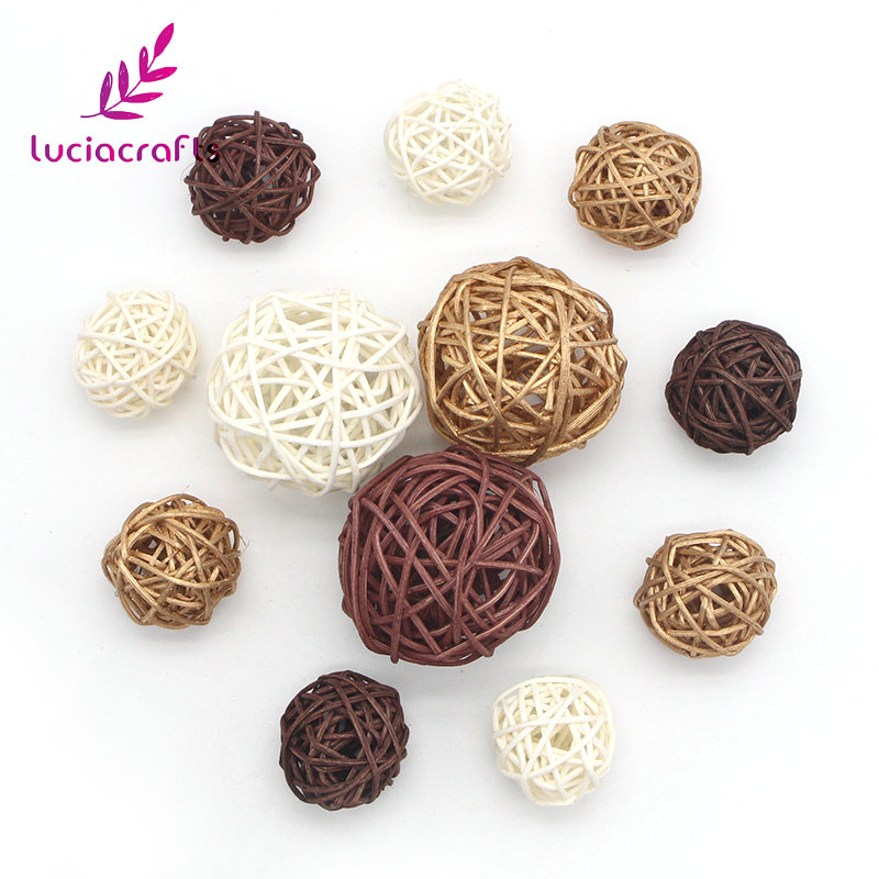 Lucia Crafts 12pcs/lot 3-5cm Mixed 3 Colors Wicker Vintage Sepak Takraw Ball DIY Home Decoration Accessories 024063