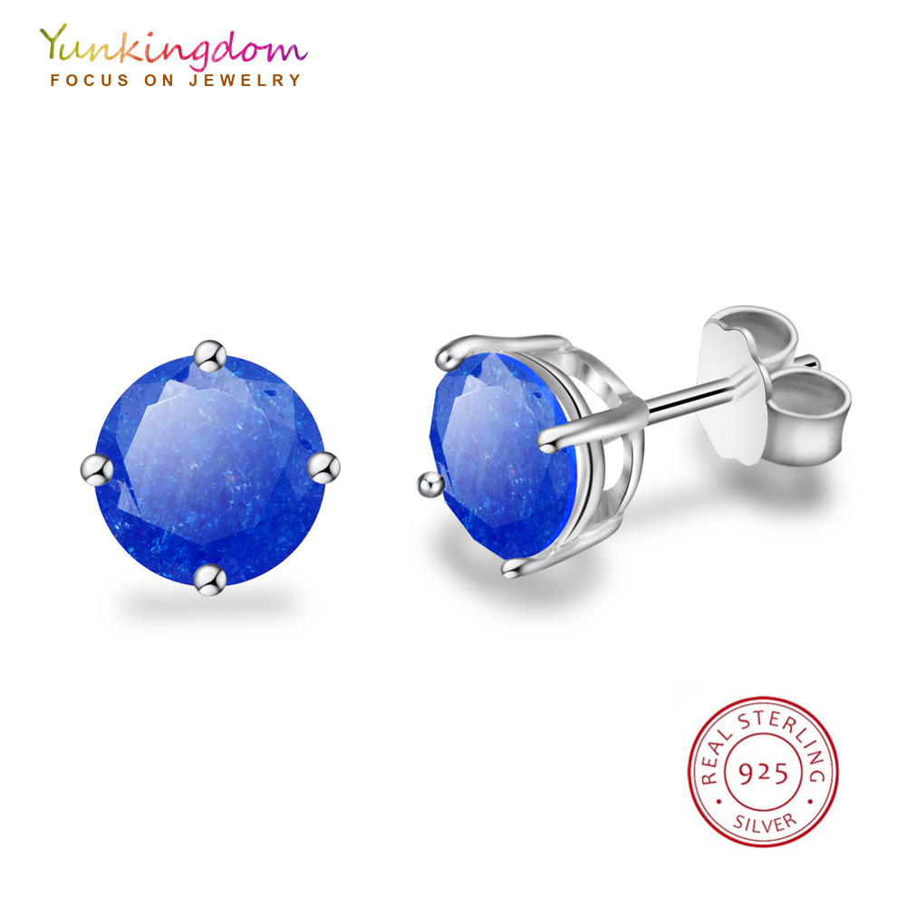 Yunkingdom New Fashion Classic Round Sterling Silver Stud Earrings for Women and Men Special Cubic Zirconia Elegant Jewelry
